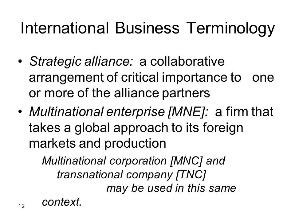 International Business Terminology