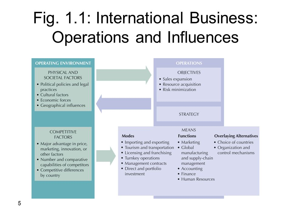 Fig. 1.1: International Business: Operations and Influences