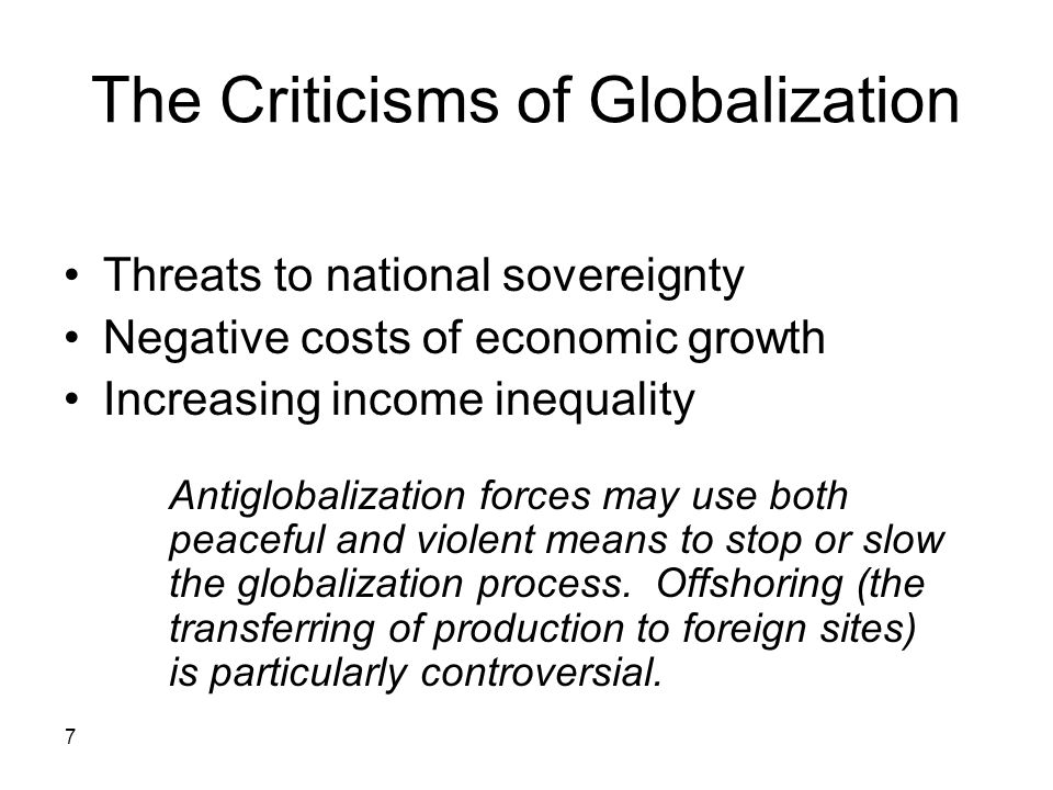 The Criticisms of Globalization