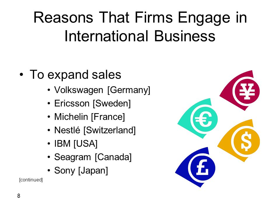 Reasons That Firms Engage in International Business