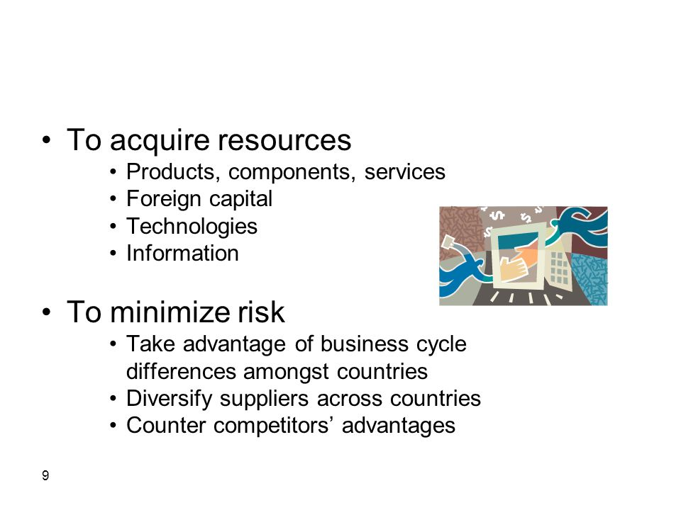 To acquire resources To minimize risk Products, components, services