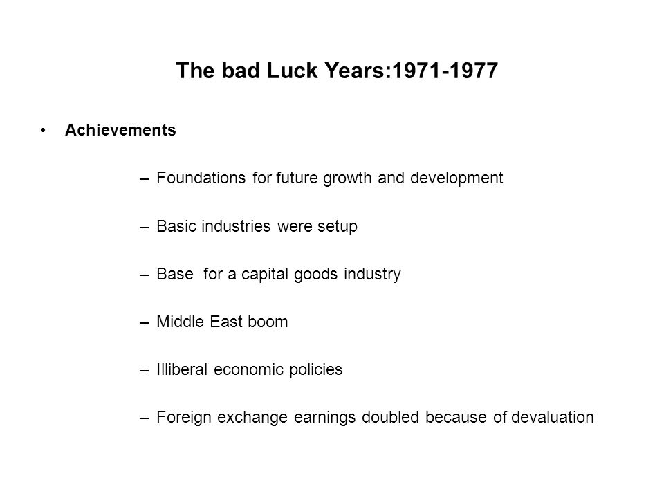 The bad Luck Years:1971-1977 Achievements