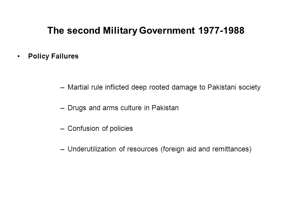 The second Military Government 1977-1988