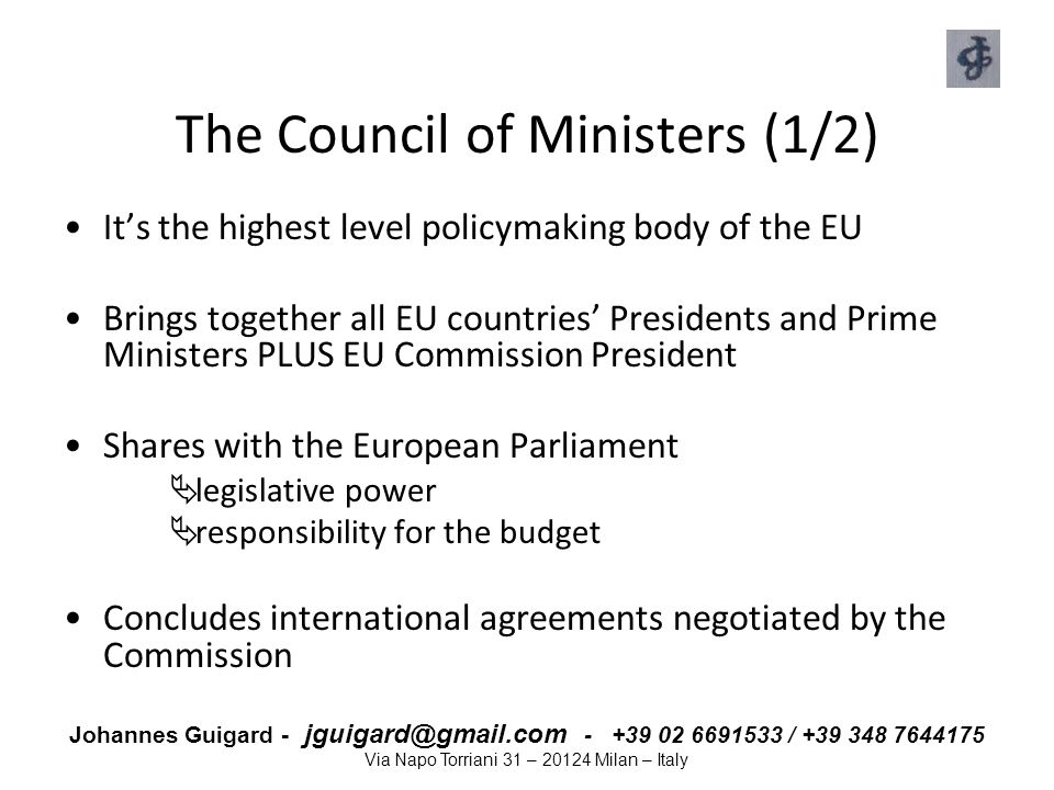 The Council of Ministers (1/2)