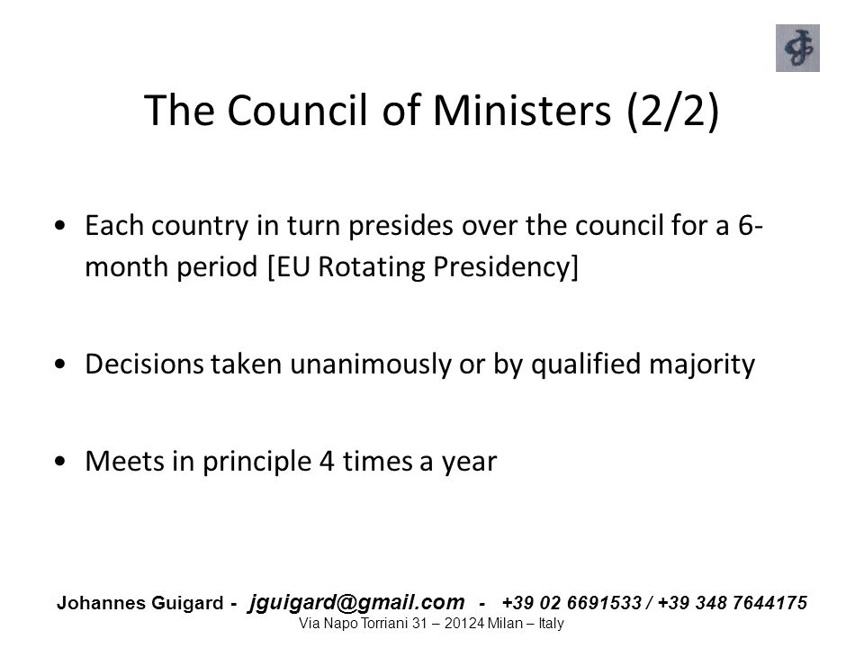 The Council of Ministers (2/2)