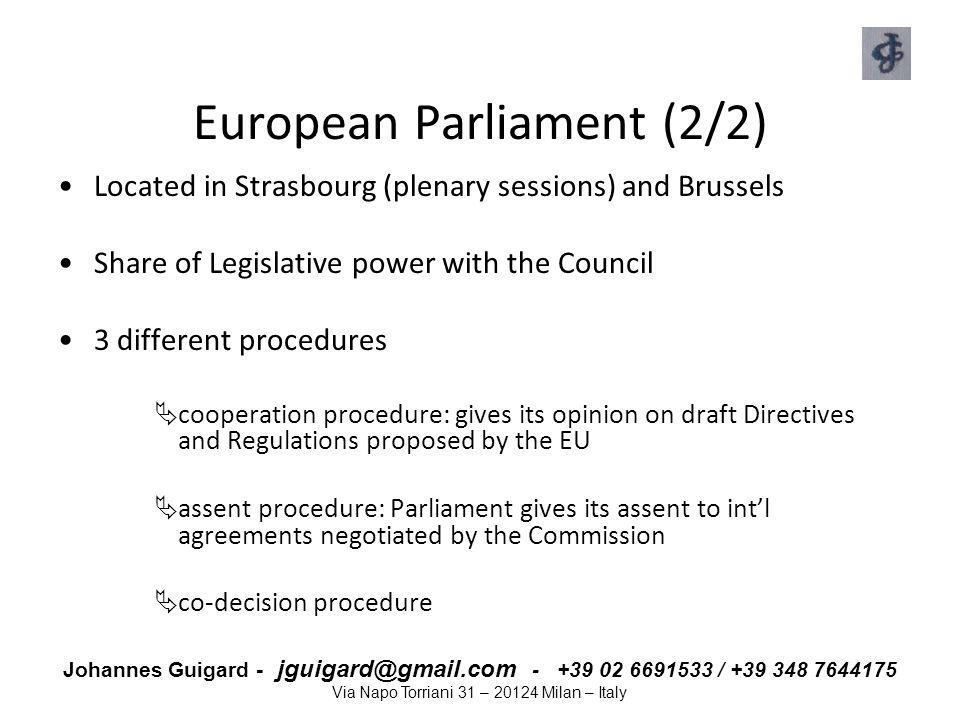 European Parliament (2/2)