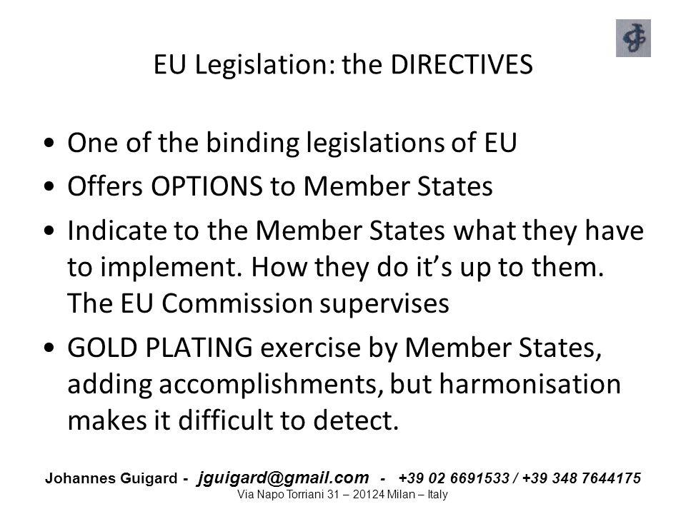 EU Legislation: the DIRECTIVES