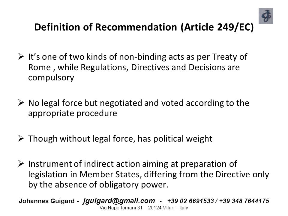 Definition of Recommendation (Article 249/EC)