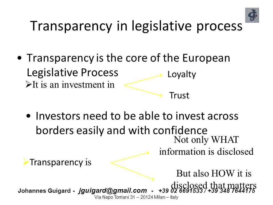 Transparency in legislative process
