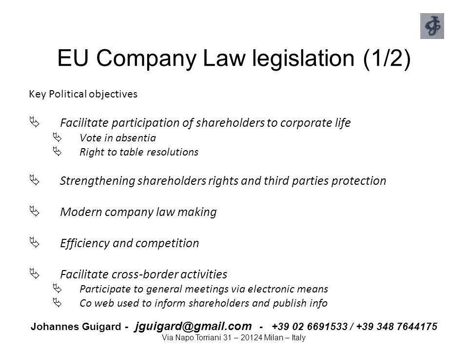 EU Company Law legislation (1/2)