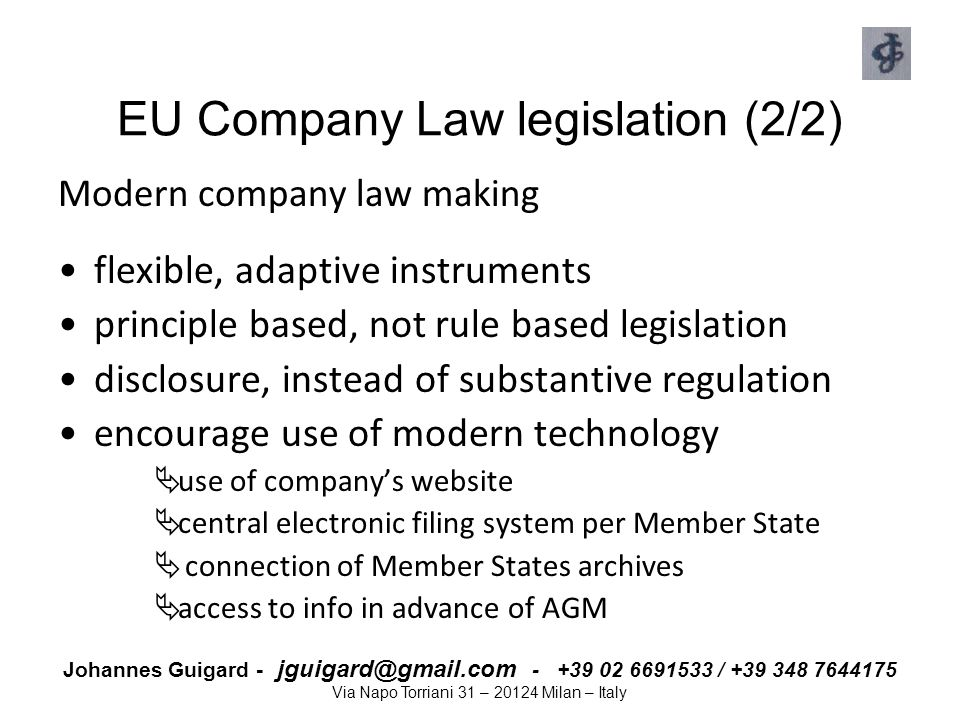 EU Company Law legislation (2/2)