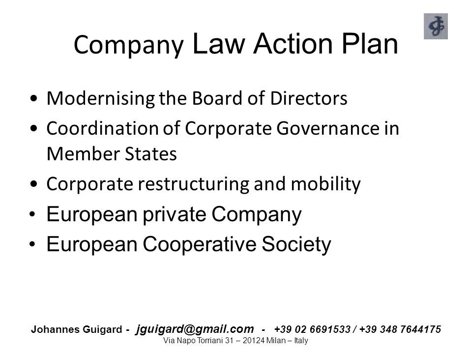 Company Law Action Plan