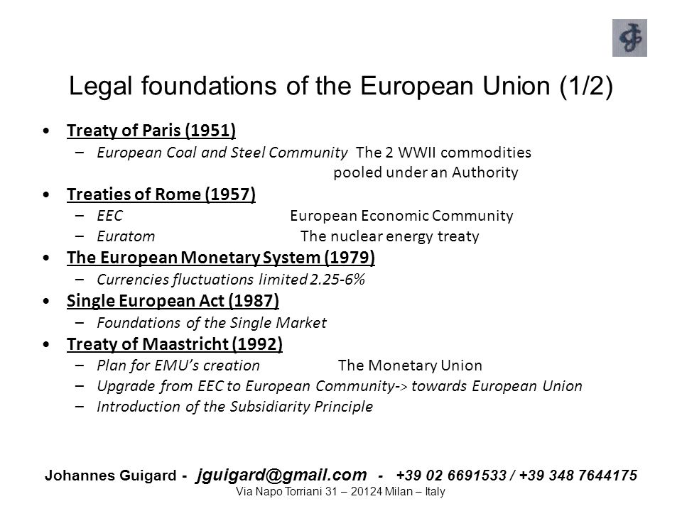 Legal foundations of the European Union (1/2)