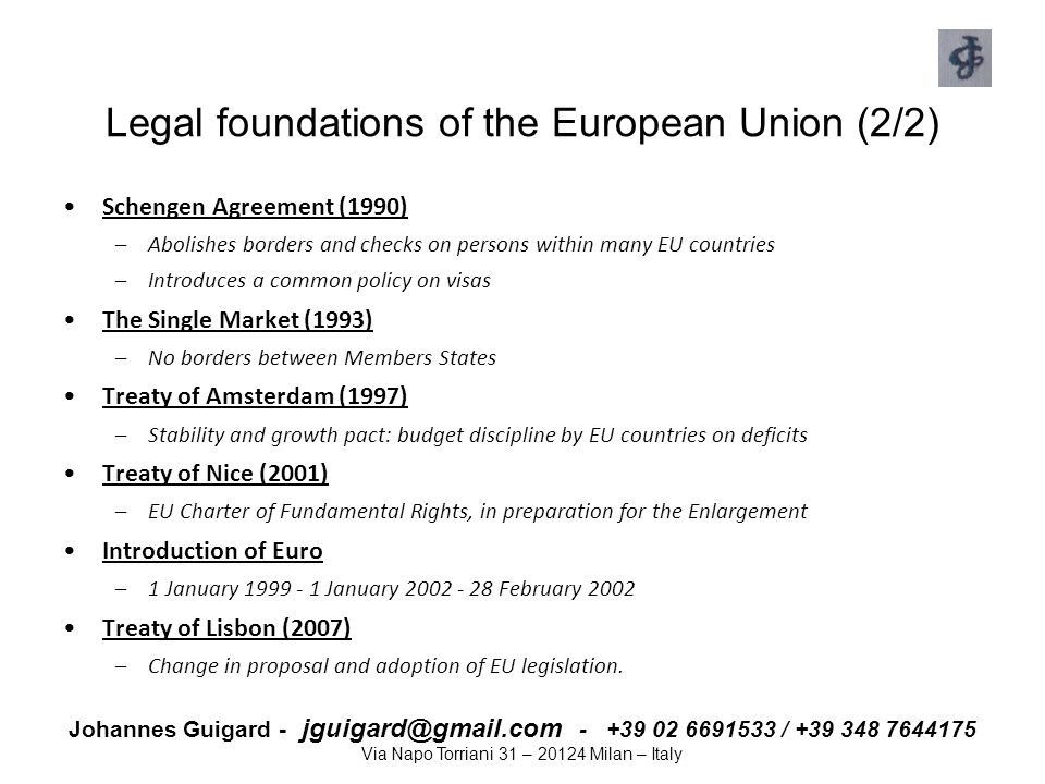 Legal foundations of the European Union (2/2)