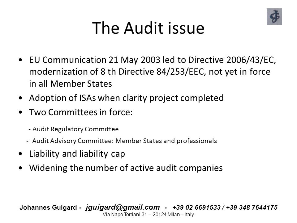 The Audit issue - Audit Regulatory Committee