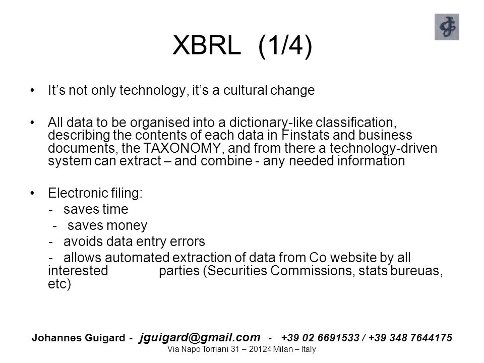 XBRL (1/4) It's not only technology, it's a cultural change