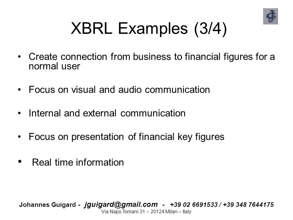 XBRL Examples (3/4) Real time information