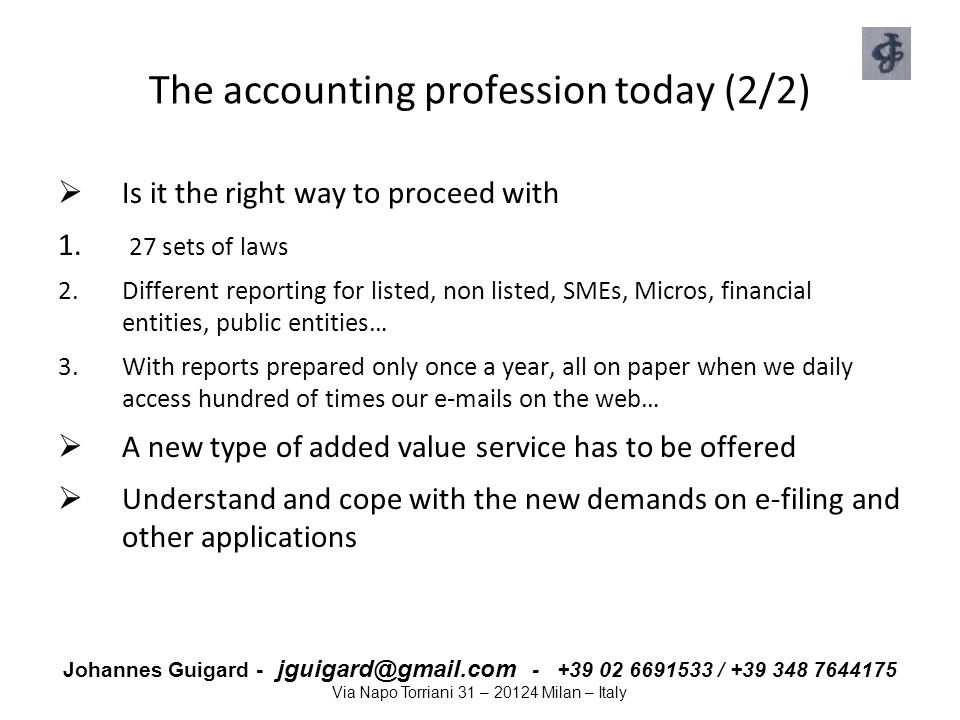 The accounting profession today (2/2)