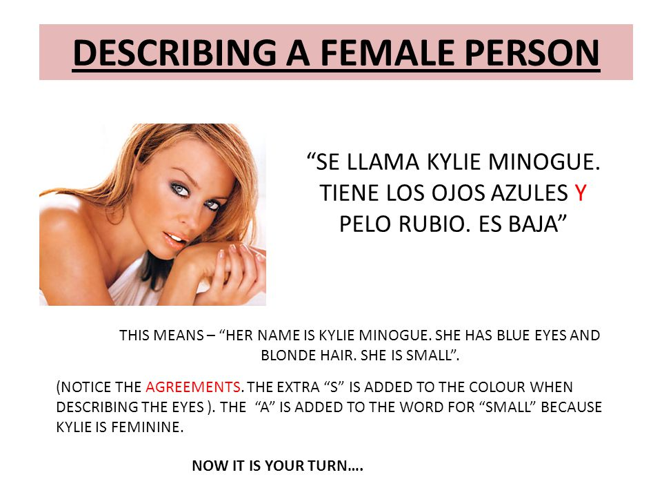 DESCRIBING A FEMALE PERSON