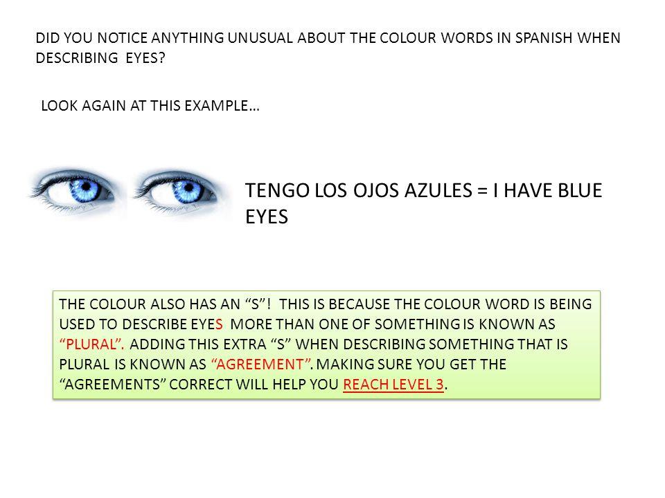 TENGO LOS OJOS AZULES = I HAVE BLUE EYES