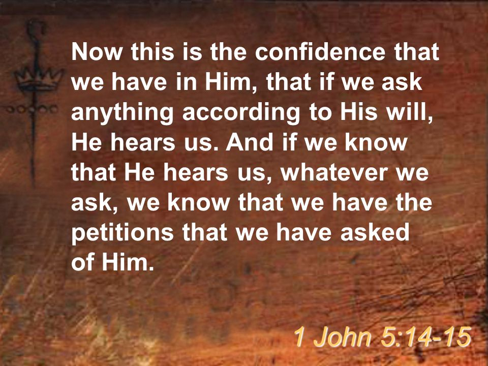 Now this is the confidence that we have in Him, that if we ask anything according to His will, He hears us. And if we know that He hears us, whatever we ask, we know that we have the petitions that we have asked of Him.