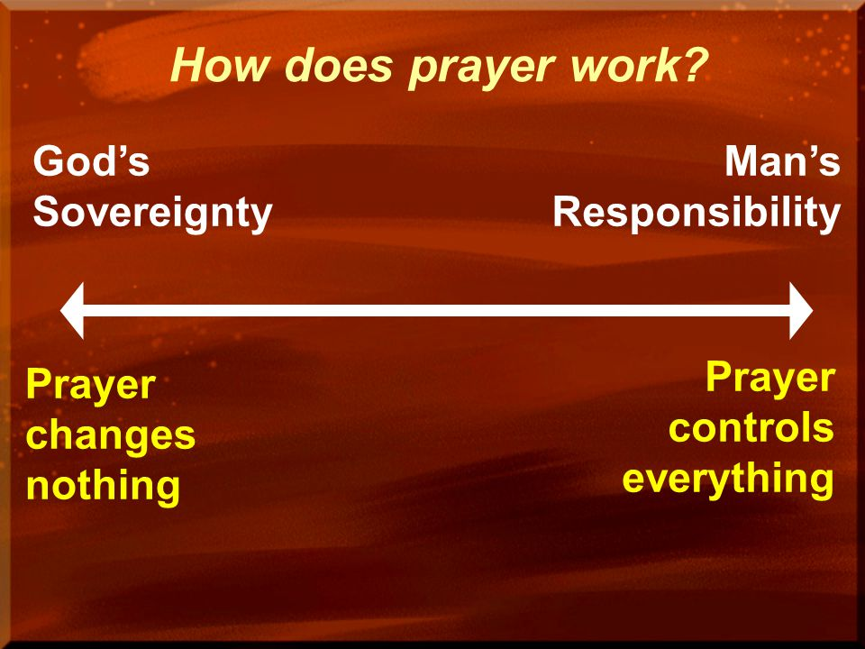 How does prayer work God's Sovereignty Man's Responsibility
