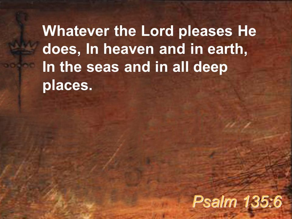 Whatever the Lord pleases He does, In heaven and in earth, In the seas and in all deep places.