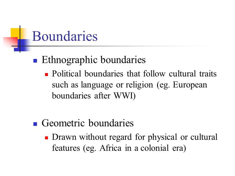 Boundaries Ethnographic boundaries Geometric boundaries