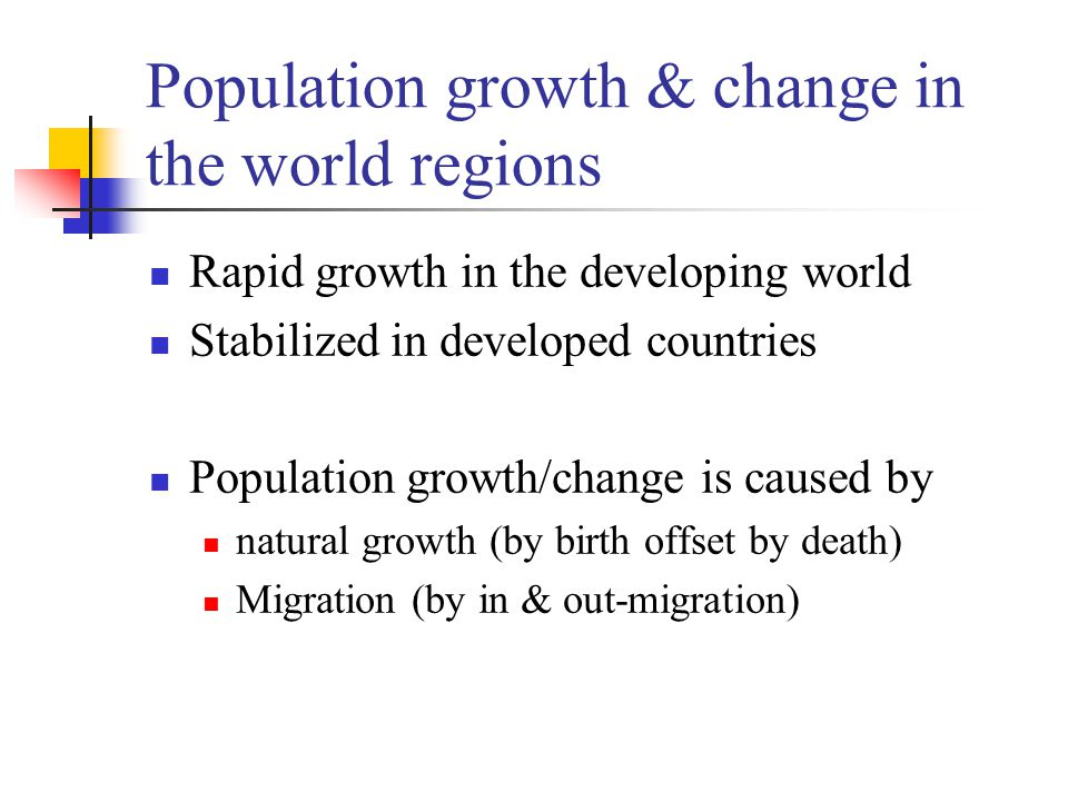 Population growth & change in the world regions
