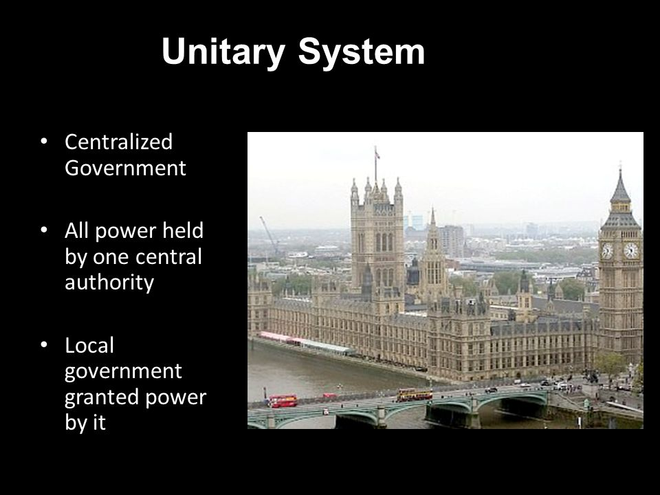 Unitary System Centralized Government