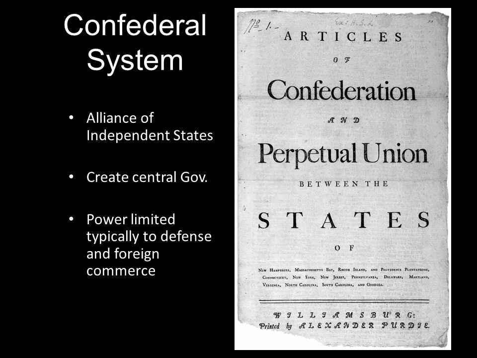 Confederal System Alliance of Independent States Create central Gov.
