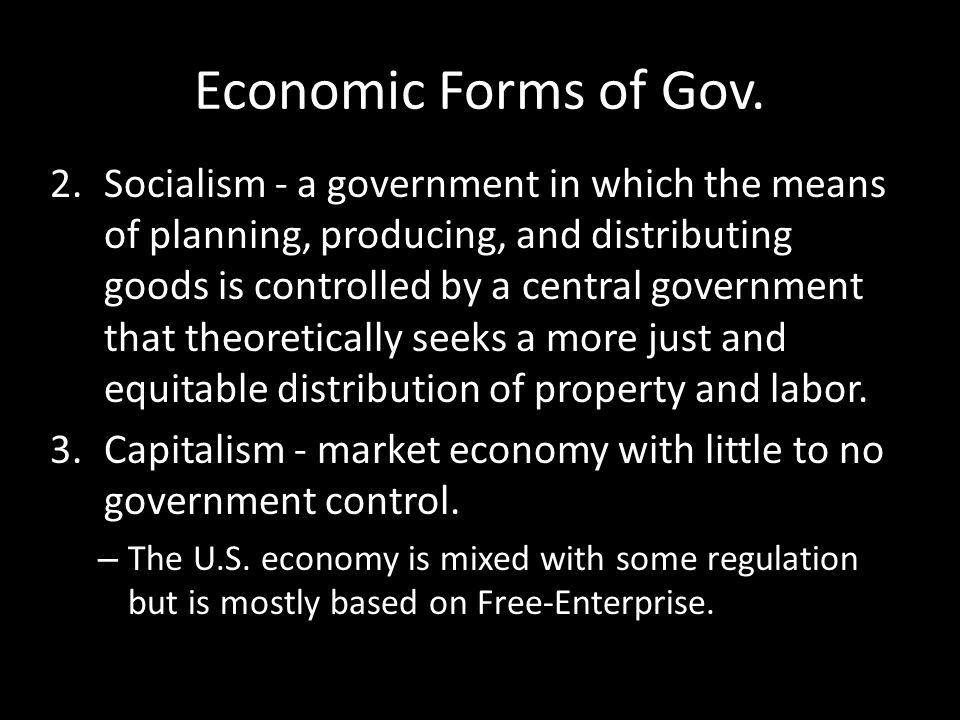Economic Forms of Gov.