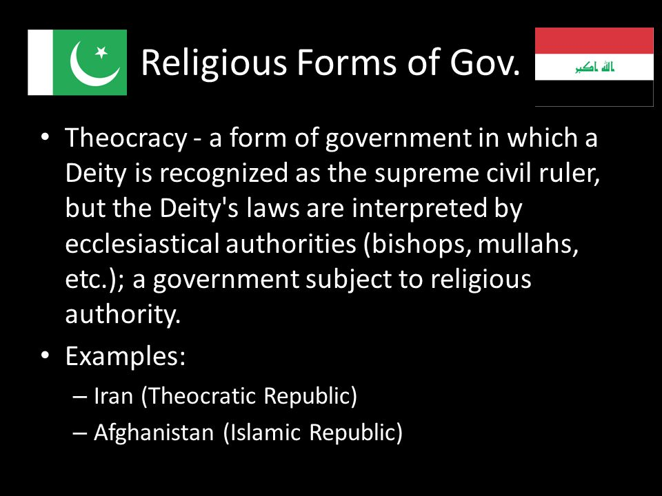 Religious Forms of Gov.