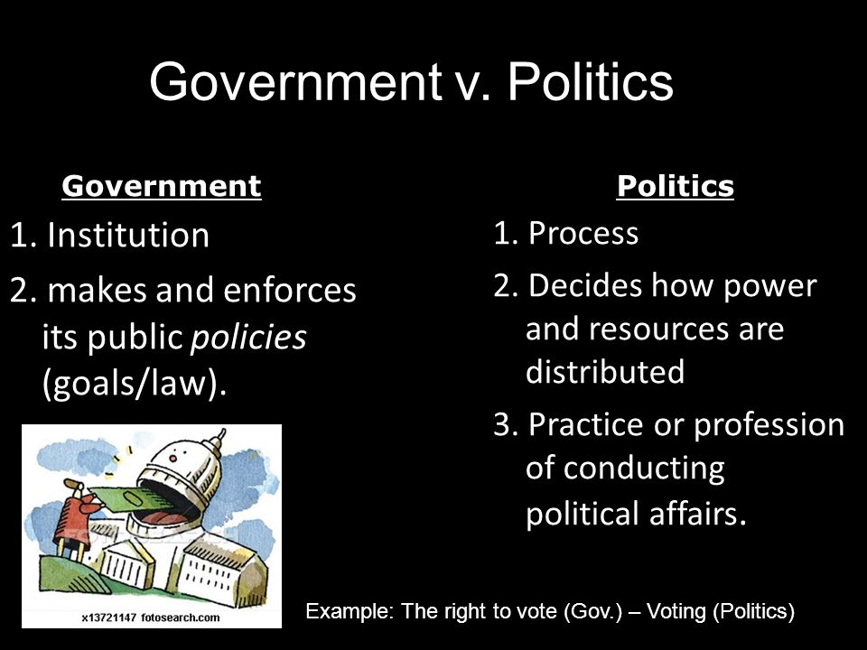 Government v. Politics Government. Politics. 1. Institution 2. makes and enforces its public policies (goals/law).