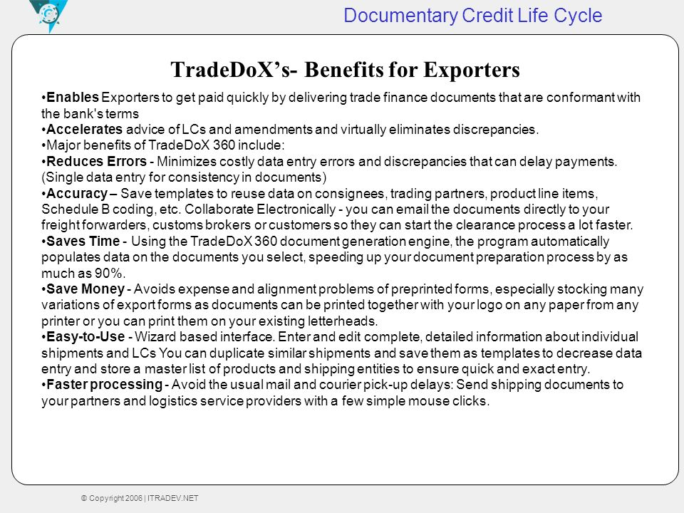TradeDoX's- Benefits for Exporters