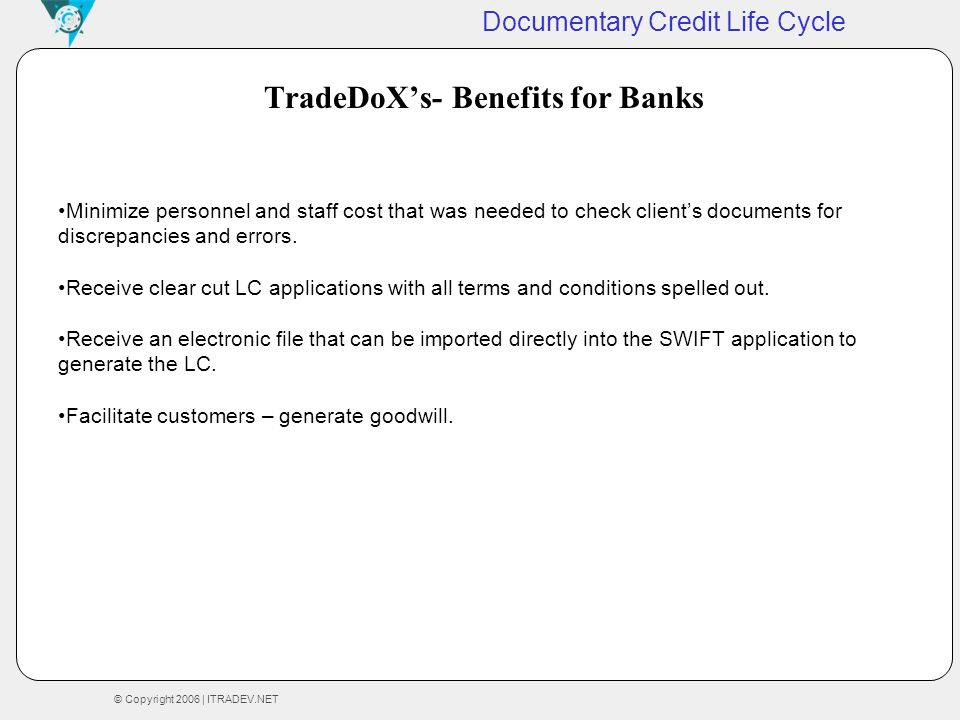 TradeDoX's- Benefits for Banks