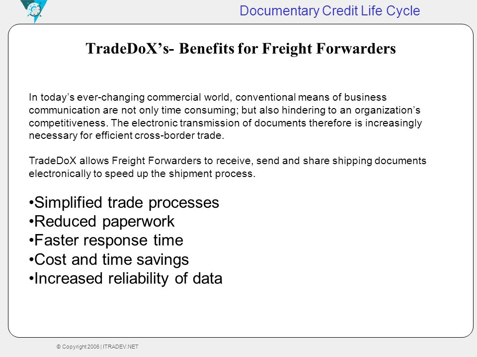 TradeDoX's- Benefits for Freight Forwarders