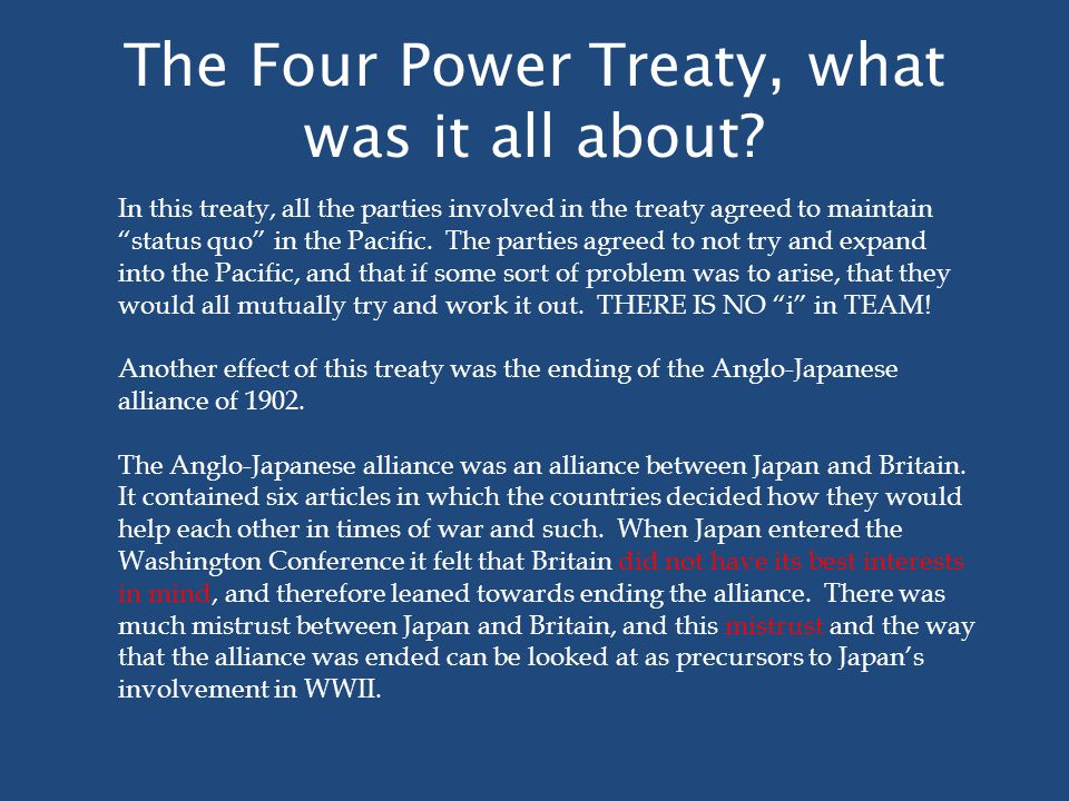 The Four Power Treaty, what was it all about