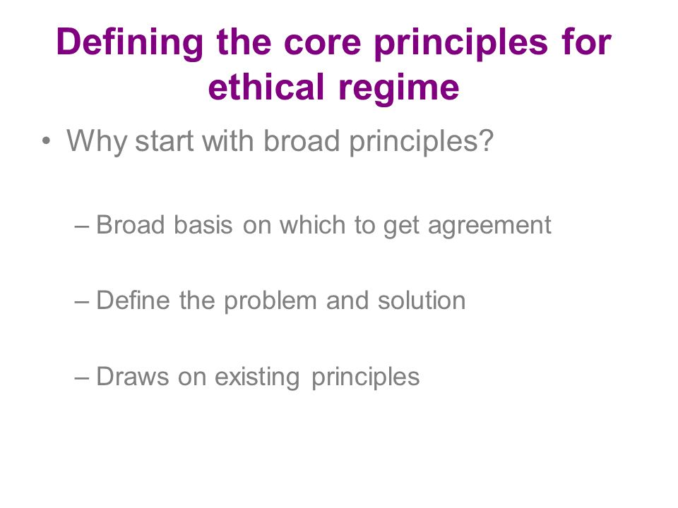 Defining the core principles for ethical regime