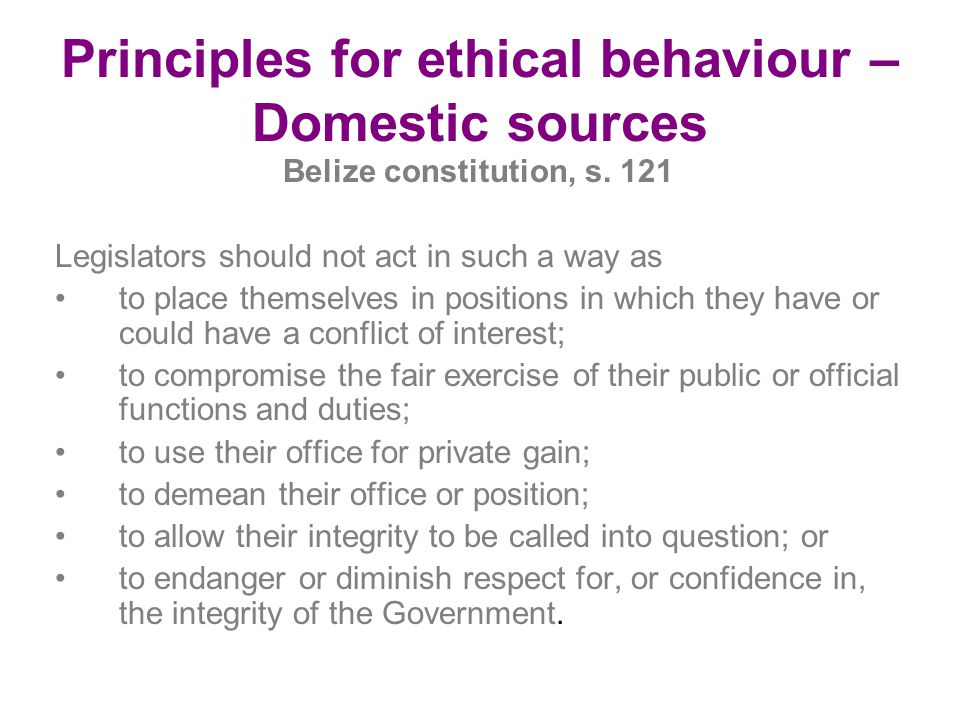Principles for ethical behaviour – Domestic sources