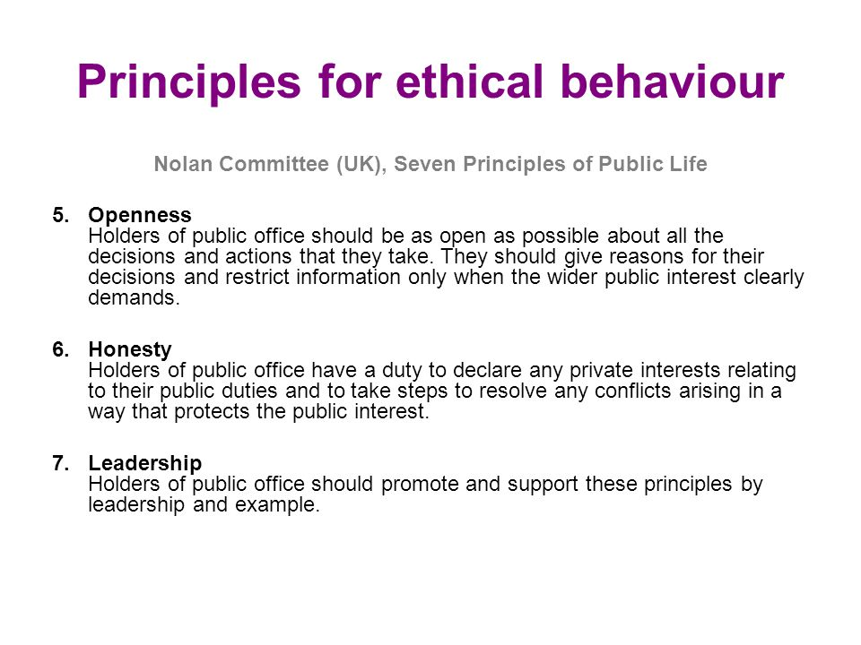 Principles for ethical behaviour