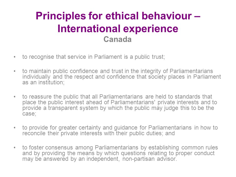 Principles for ethical behaviour – International experience
