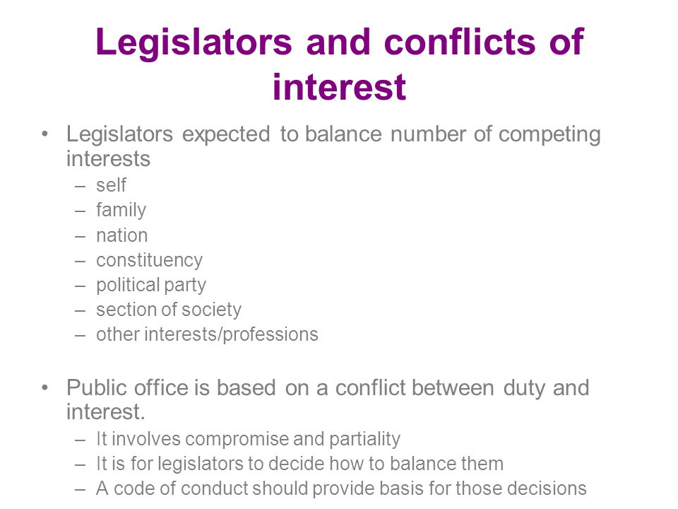 Legislators and conflicts of interest