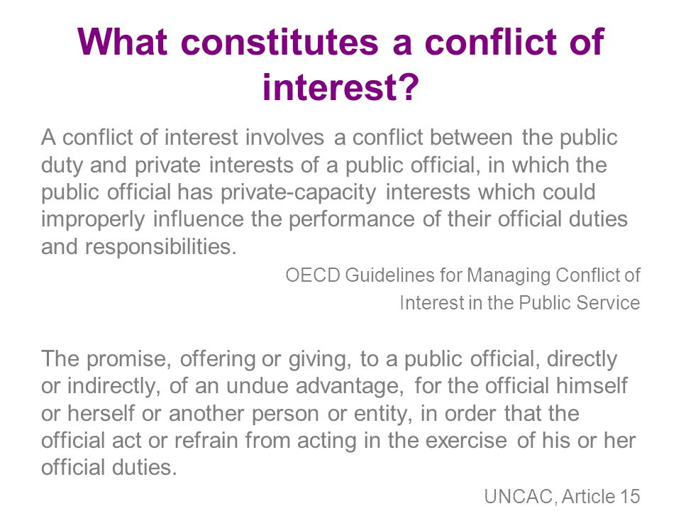 What constitutes a conflict of interest