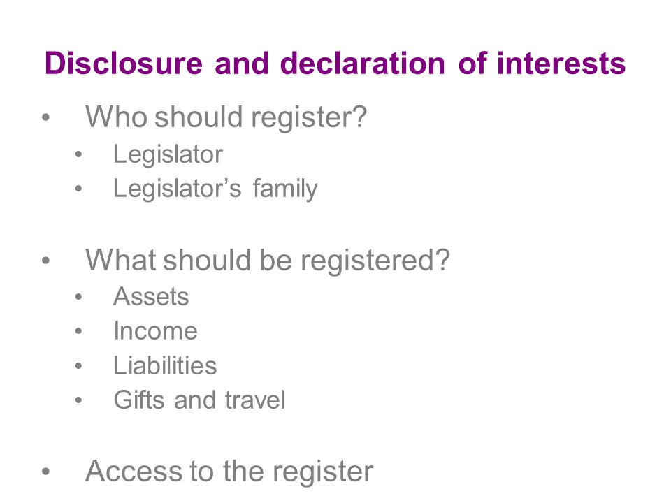 Disclosure and declaration of interests