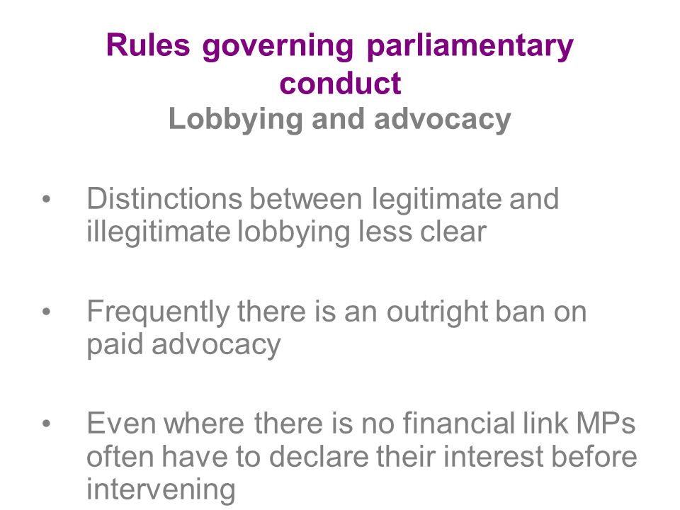 Rules governing parliamentary conduct