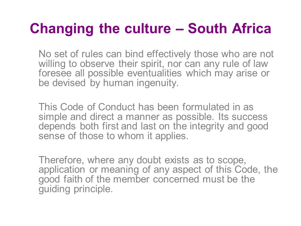 Changing the culture – South Africa