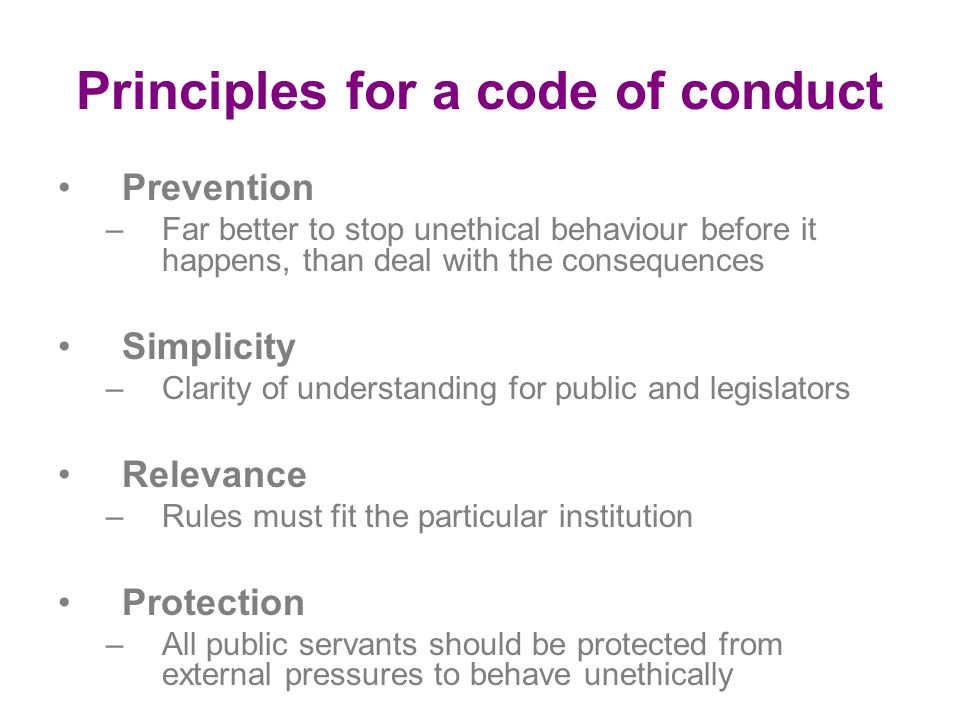 Principles for a code of conduct