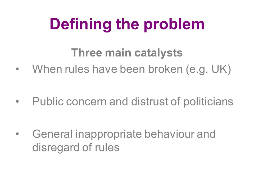 Defining the problem Three main catalysts