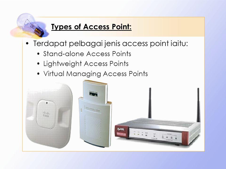 Terdapat pelbagai jenis access point iaitu: